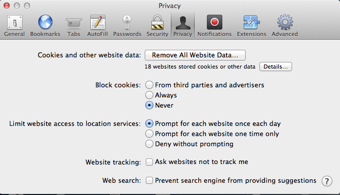 Safari Privacy Tab image